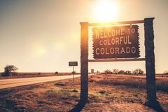 Colorado State Welcome Sign Stock Image