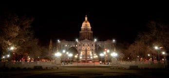 Colorado statlig Capitolbyggnad på natten arkivbilder