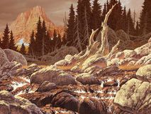 Colorado Stream. Image from an original painting by Larry Jacobsen. / AF-007 stock illustration