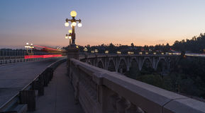 Colorado Street Bridge in Pasadena. The landmark Colorado Street Bridge in Pasadena, California. Image taken at dusk. The bridge is locally known as the ` royalty free stock image