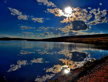 Colorado Sunset. Reflecting in a lake Stock Image