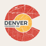 Colorado t-shirt graphic design with denver city map. Tee shirt print, typography, label, badge, emblem. Vector illustration Stock Photography