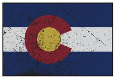 Colorado tillståndsflagga Grunged Royaltyfria Bilder