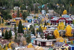 Colorado Town of Breckenridge. View of colorful homes and Aspen trees and pines on a winter day in Breckenridge, Colorado Stock Photo