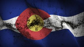 Colorado US State grunge dirty flag waving on wind. United States of America Colorado background fullscreen grease flag blowing on wind. Realistic filth fabric Stock Photos