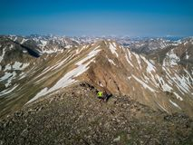 Hikers atop the beautiful mountains of the Sawatch Range. Colorado Rocky Mountains. Colorado, USA - 7/8/17 - Drone photo of hikers atop French Mountains. Sawatch royalty free stock photography