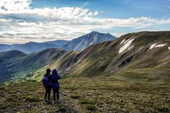 Hikers on the summit of Cupid Peak, Colorado Rocky Mountains stock photo