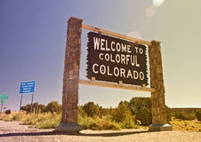 Colorado USA, Welcome sign. On the state border, Instagram filter destaurated processing for vintage looks Royalty Free Stock Image
