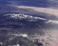 Desert and snowed mountains in the east coast of America stock photography