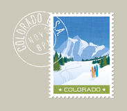 Colorado vector illustration of skiing in mountains. Royalty Free Stock Photo