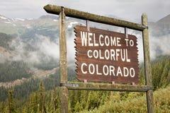 Colorado welcome road sign royalty free stock photos
