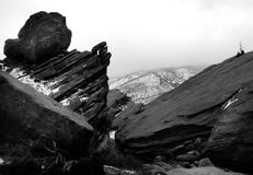 Colorado winter landscape blac. Winter mountain landscape in Colorado in black and white Royalty Free Stock Photography