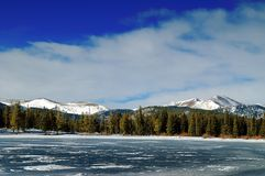 Colorado Winter Mountains. Colorado winter scenery landscape with mountains and frozen lake Stock Image