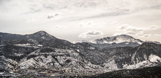 Colorado winter snow on pikes peak mountain range Stock Images