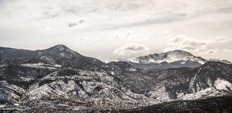 Colorado winter snow on pikes peak mountain range Stock Images