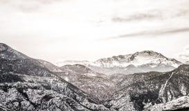 Colorado winter snow on pikes peak mountain range Stock Photos