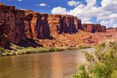 Coloradofloden vaggar kanjonreflexionen Moab Utah Arkivfoto