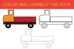 Colorando e colleghi i punti dell'immagine del trasporto del camion Scherza il gioco Illustrazione di vettore royalty illustrazione gratis