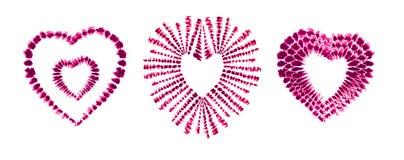 Colorant rouge de lien de coeur Rose rouge Art Brushes Copie dans le style de Shibori Ornement de ruban, ruban, frontière Photo libre de droits