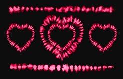 Colorant rouge de lien de coeur Rose rouge Art Brushes Copie dans le style de Shibori Ornement de ruban, ruban, frontière Illustration Stock