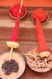 Colorante natural de las lanas de Alapaca Foto de archivo libre de regalías