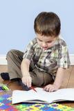 Coloração do rapaz pequeno Fotos de Stock Royalty Free
