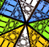 Colorated glass and    sun in morocco africa window and light Royalty Free Stock Photos