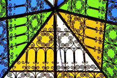 Colorated glass and sun in morocco  and light Stock Photography