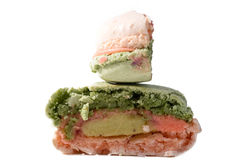 Colorated inside macaron closeup Royalty Free Stock Photo