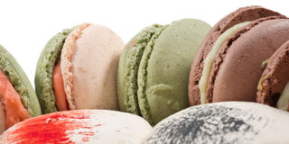 Colorated macarons closeup Stock Photos