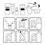 Coloration, accessoires et approvisionnements de cheveux pour des coiffeurs Photographie stock