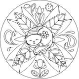 Coloration Cat Mandala Image stock