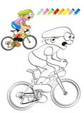 Coloration d'illustration de cycliste Images libres de droits