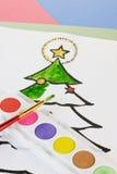Coloration de Noël de l'enfant Photo libre de droits