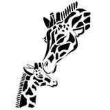 Coloration mignonne de famille de girafe Images libres de droits