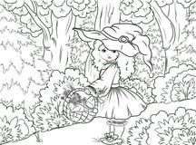 Coloration noire et blanche d'illustration : Peu de capuchon rouge illustration libre de droits