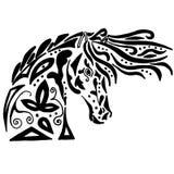 Coloration ou tatouage noire de cheval Photo stock