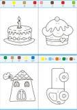 Coloration par des nombres. Ensemble 3 Images stock