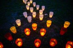 Colorato emettere luce si accende nel parco su un'erba Fotografia Stock Libera da Diritti