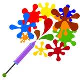 colorato Multi spruzza la mosca dalla siringa per le pitture su un bianco illustrazione di stock