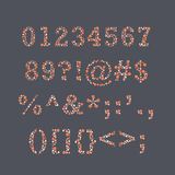 Colorblind Font Numbers. Set of numbers and symbols that replicate the look of colorblind tests Royalty Free Stock Photos