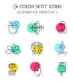 Colorblock Alternative Medicine icons. Royalty Free Stock Photo