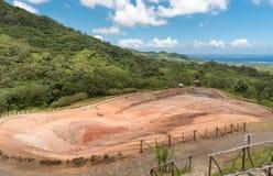 23 coloreó la tierra en DES Couleurs de Vallee en Mauricio Parque nacional Fotografía de archivo