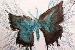 Colore ad acqua blu della farfalla Immagine Stock Libera da Diritti