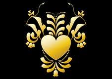 Colore astratto dell'oro del fiore del cuore su colore nero Immagini Stock