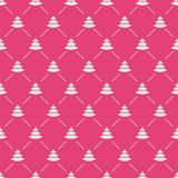 Colore bianco del modello senza cuciture dell'albero di Natale su fondo rosa per la promozione del prodotto Fotografie Stock Libere da Diritti
