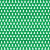 Colore bianco del modello senza cuciture dell'albero di Natale sul fondo verde di festa Immagini Stock