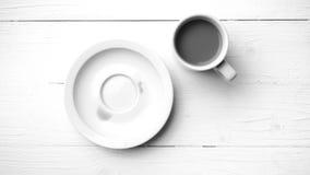 Colore in bianco e nero della macchia della tazza di caffè Immagine Stock