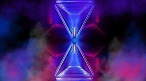 Colore blu e rosa panoramico al neon del fondo dell'estratto, il nero, il gioco di luce royalty illustrazione gratis