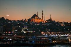 Colore caldo di notte di Costantinopoli Eminonu Fotografia Stock